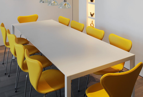 gele design eetkamerstoelen als kantoor inrichting